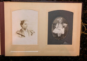 Nice leather photo album and antique Victorian era cabinet cards