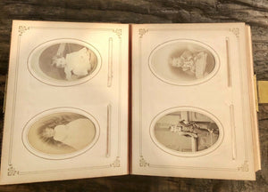 High Quality 1800s Leather Album Many ID'd People Cabinet Cards CDVs Tintype 61A