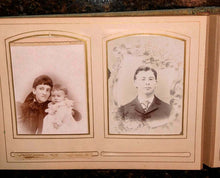 Load image into Gallery viewer, antique Victorian album cabinet cards cdvs tintype mourning / memorial widow 62A