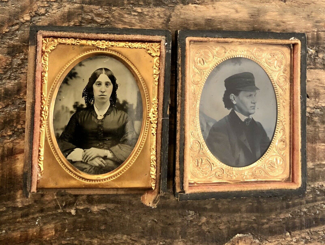 Ambrotype and Tintype, Man and Woman, 1850s 1860s