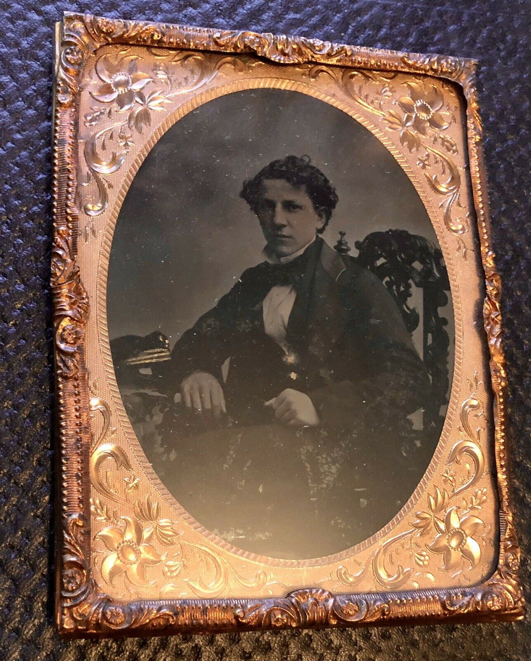 1/4 Ambrotype of Young Navy Naval Officer Early 1860s Civil War Era