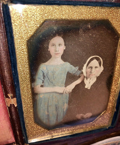 1/4 Daguerreotype Tinted Blue Dress Girl & Mother 1840s