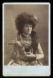 Excellent Snake Charmer Lady - 1800s Cabinet Card, Sideshow