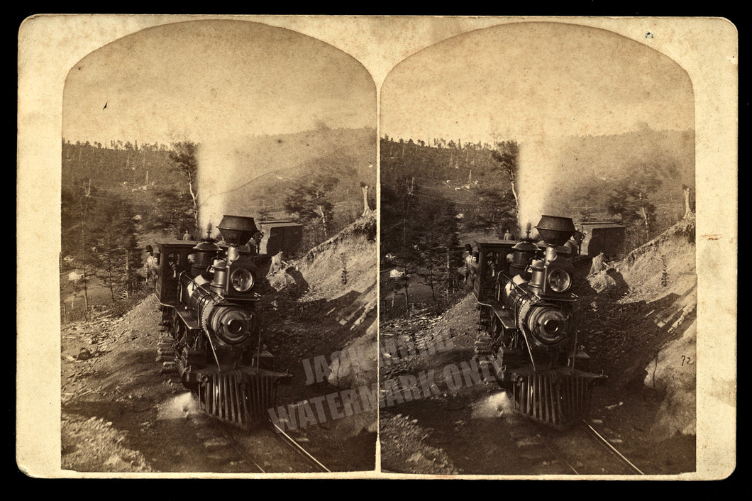 Rare Pennsylvania Oil Regions Train by West & Waddell Antique 3D Stereoview Photo