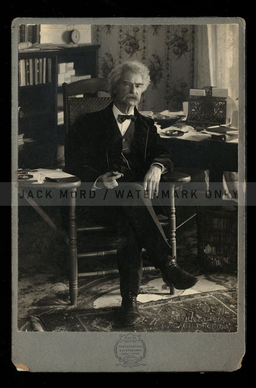 Very Rare Portrait of Famous Author Samuel Clemens / Mark Twain Original Antique Photo