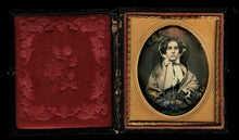 Load image into Gallery viewer, 1850s Daguerreotype Pretty Woman Gold Jewelry Bonnet Lace Veil! Sealed