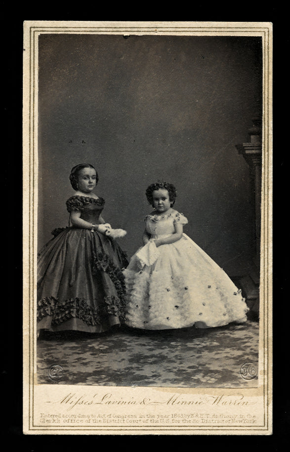 Sideshow Little People Sisters Minnie & Lavinia Warren, 1860s CDV Photo by Brady