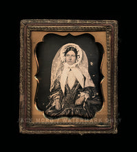 Load image into Gallery viewer, 1850s 1/6 Daguerreotype Beautiful Woman Bonnet Large Lace Veil