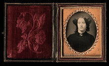 Load image into Gallery viewer, 1850s Daguerreotype Woman (Widow?) in Black Mourning Dress & Brooch