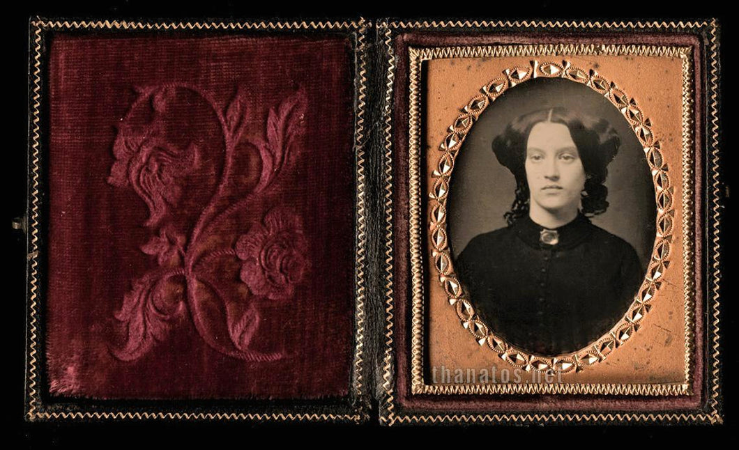 1850s Daguerreotype Woman (Widow?) in Black Mourning Dress & Brooch