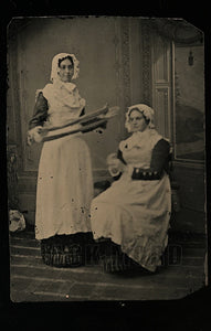 unusual antique tintype photo women winding yarn / occupational seamstresses?