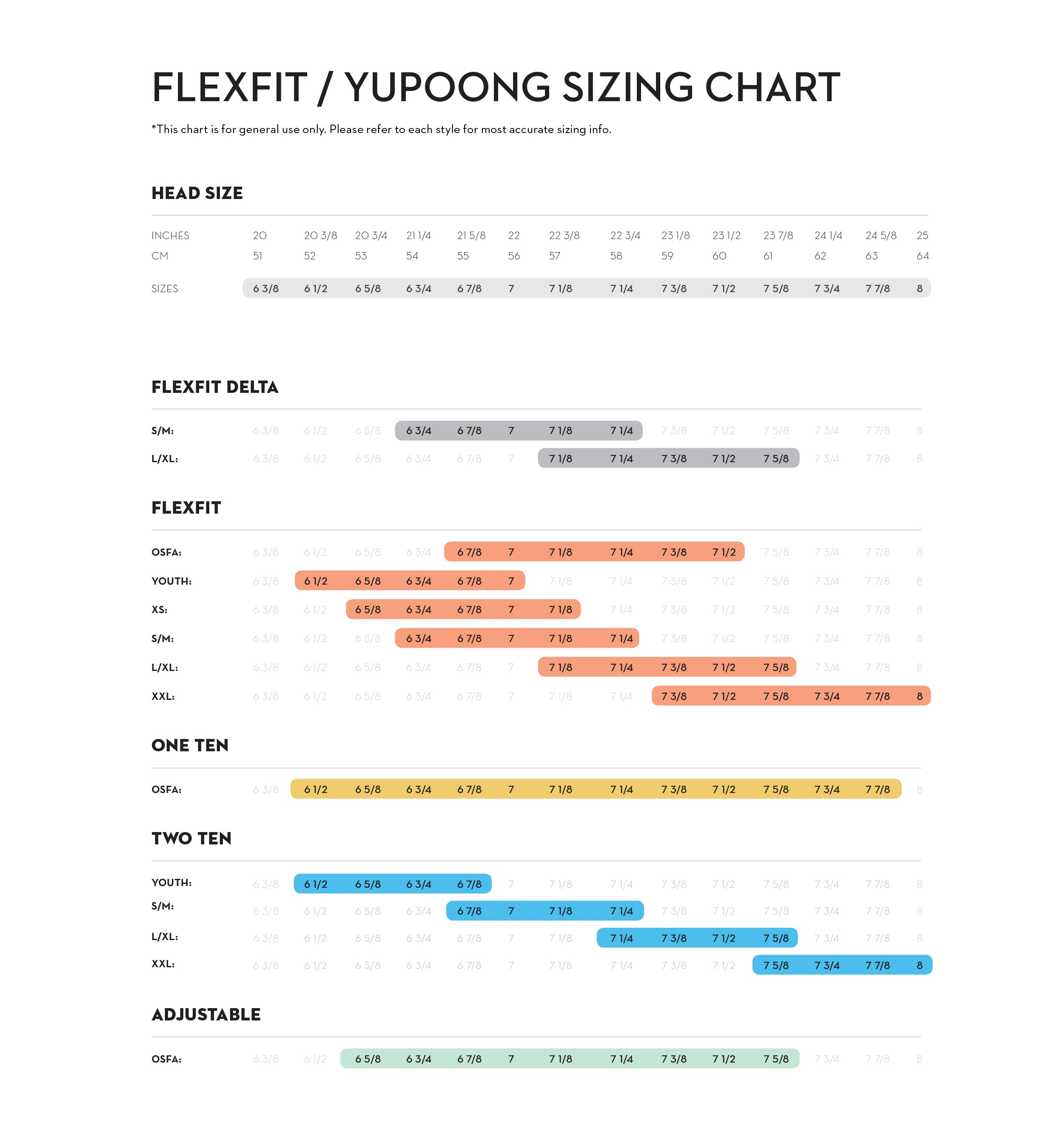 FlexFit Size Guide