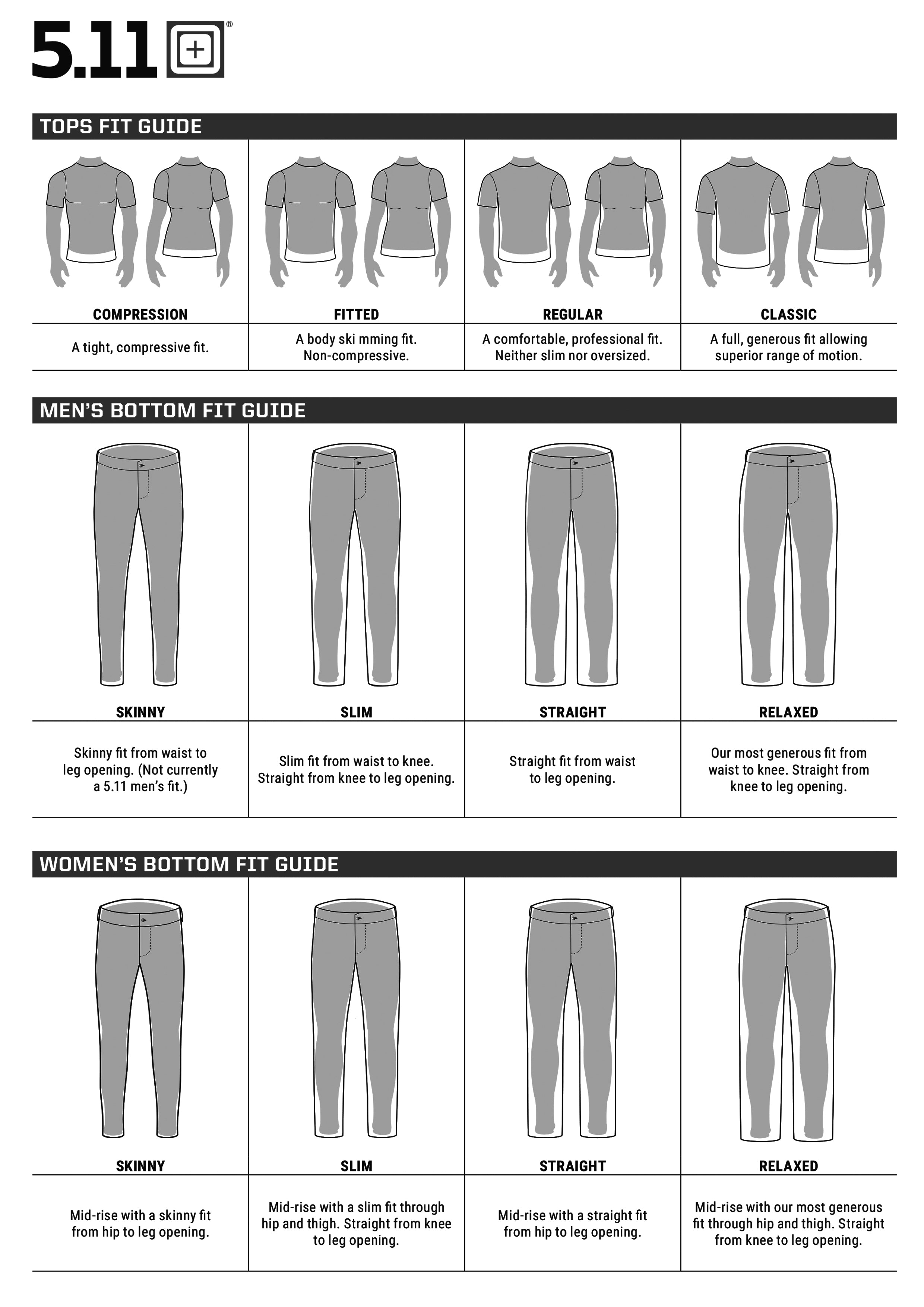 5.11 Tactical Size Guide