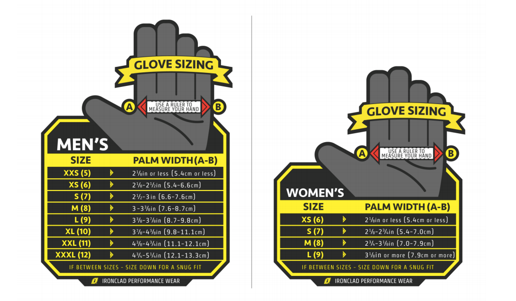 Ironclad Gloves Size Guide