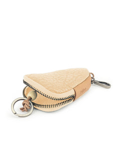 Triangle Leather Key Holder - Beige