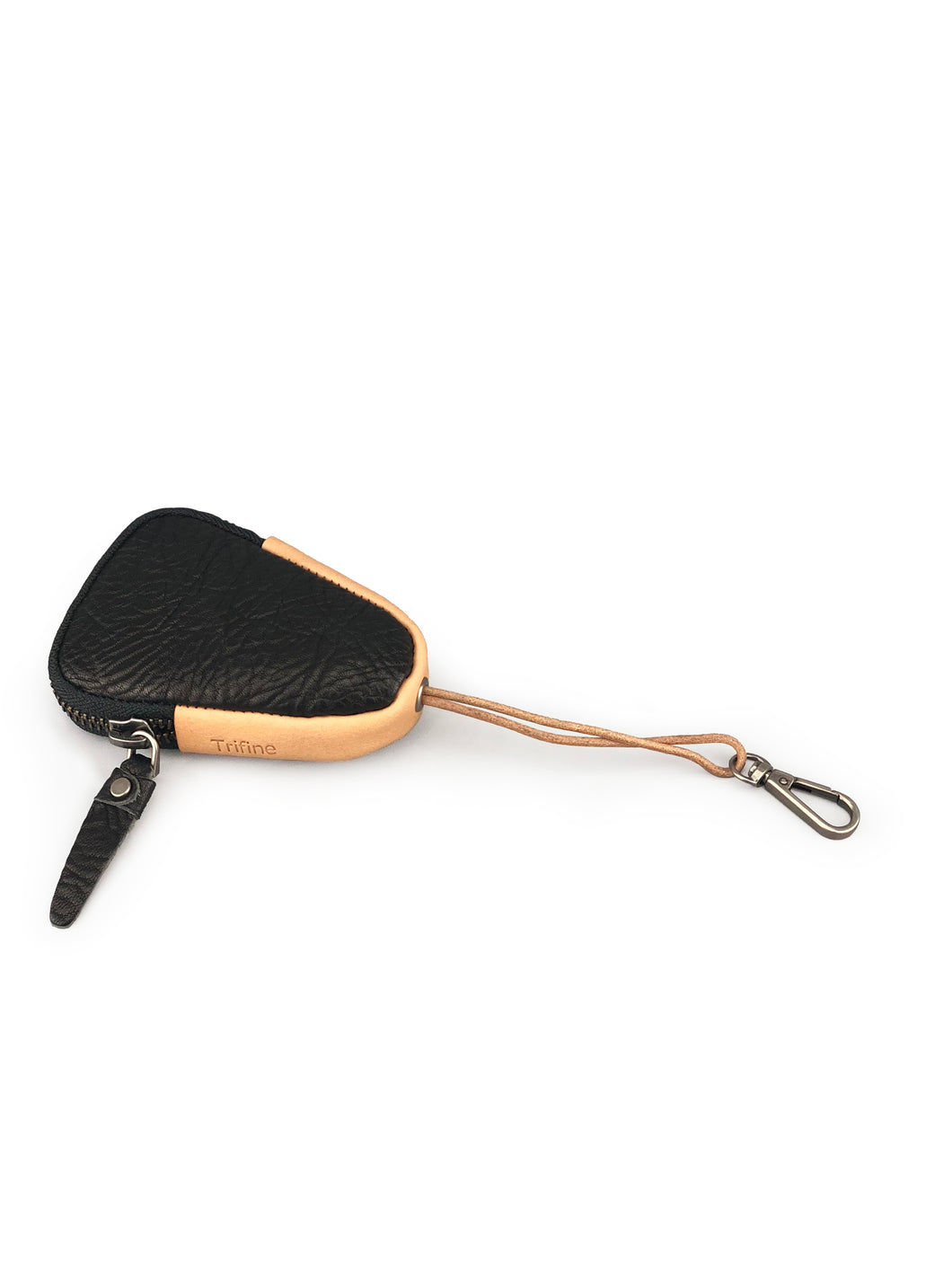 Triangle Leather Key Holder - Black