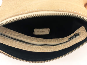 Pebbled Leather Clutch - Beige