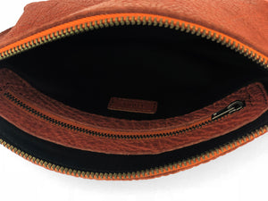 Pebbled Leather Clutch - Rust