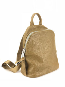 Pebbled Leather Backpack - Olive