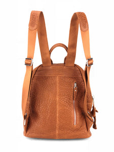 Pebbled Leather Backpack - Tan
