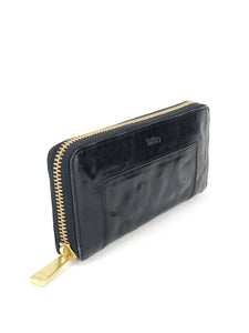 Concrete Leather Zip Wallet - Black