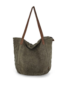 Natural Slouchy Bag - Khaki