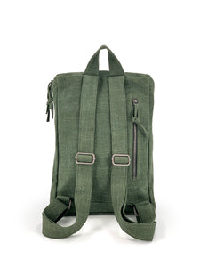 Top Zip Natural Backpack - Green