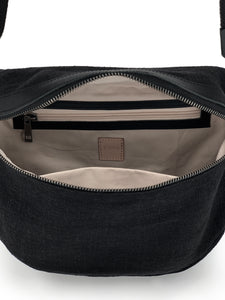 Natural Saddle Bag - Black