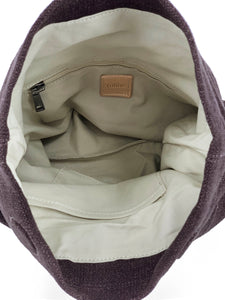 Natural Roll-top Bag - Plum