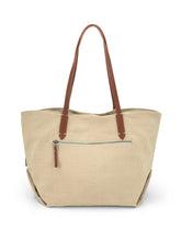 Load image into Gallery viewer, Leather- trimmed Natural Tote Bag - Beige