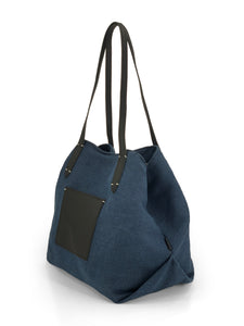 Leather- trimmed Natural Tote Bag - Navy