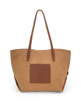 Load image into Gallery viewer, Leather- trimmed Natural Tote Bag - Tan