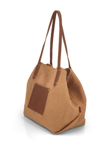 Leather- trimmed Natural Tote Bag - Tan
