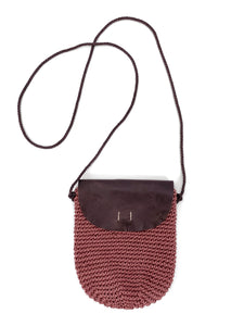Handwoven Flap Crossbody - Mauve