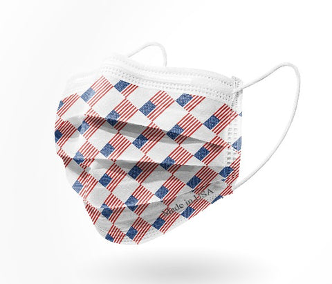 American flag disposable mask print by palm beach mask