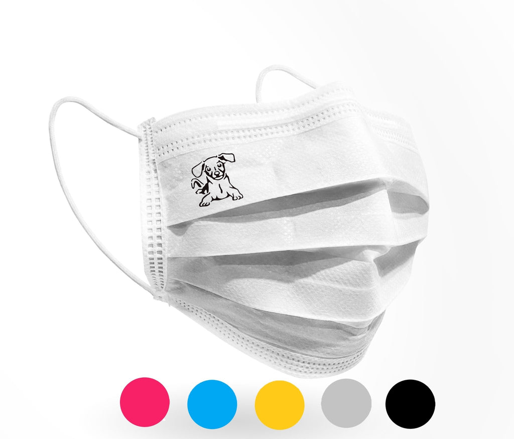 Beagle Pup Logo Mask 10 pack on White - Palm beach mask