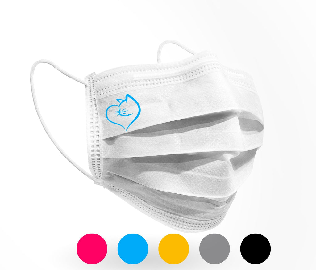Cat Heart Logo Mask 10 pack on White - Palm beach mask