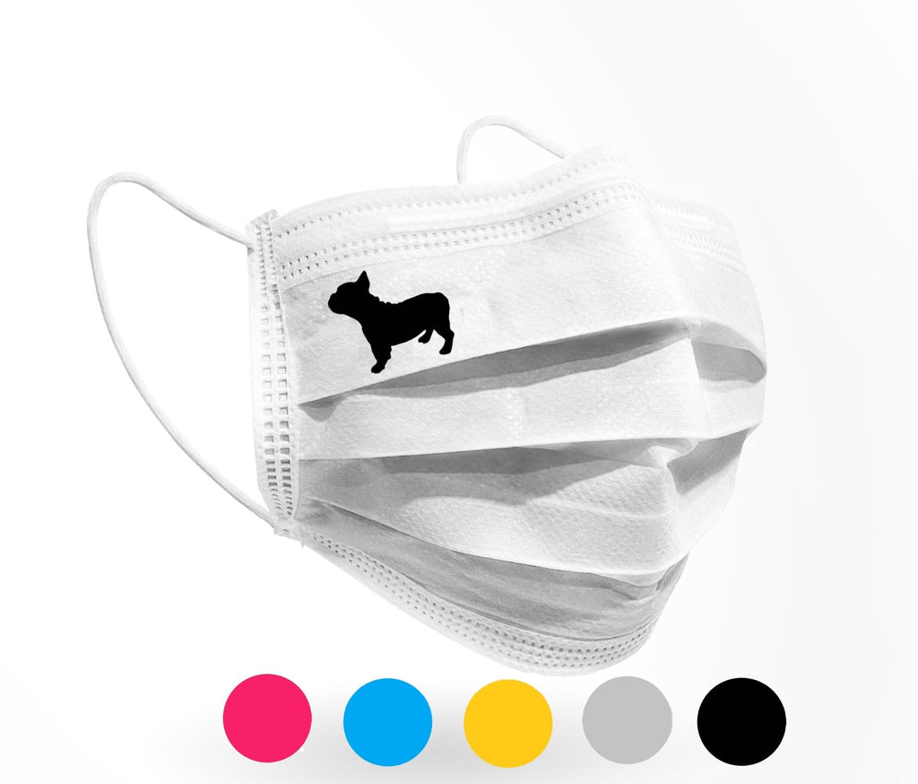 French Bulldog silhouette Logo Mask 10 pack white - Palm beach mask