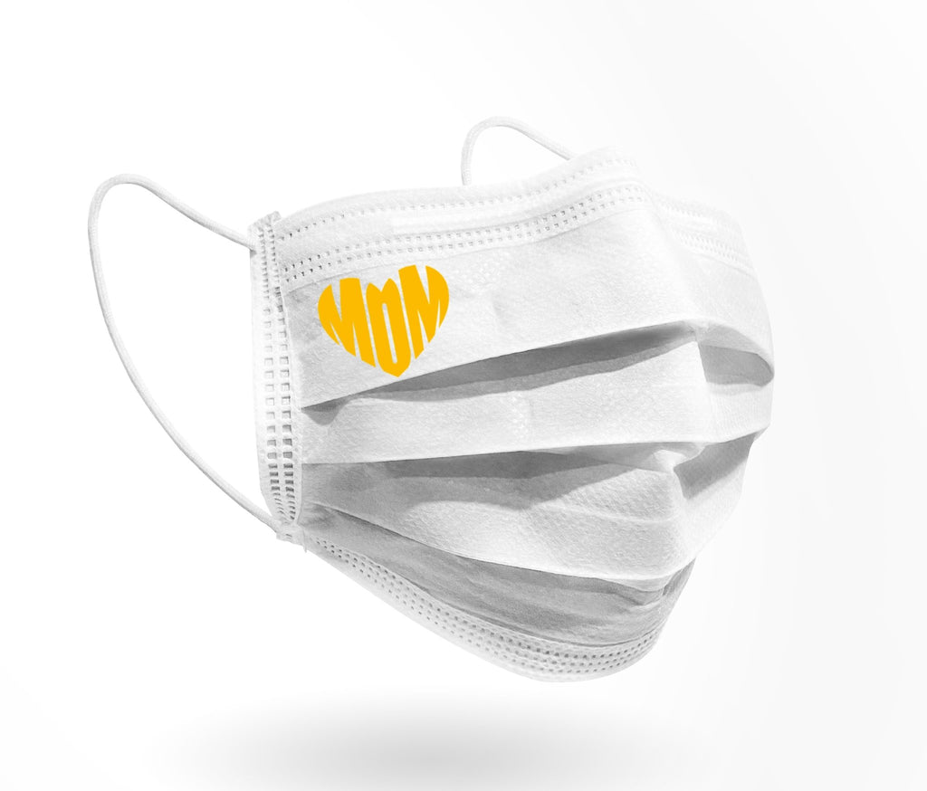 MOM heart Logo Mask print 10 pack on White - Palm beach mask