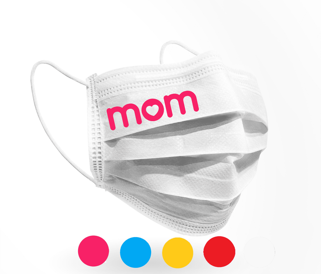 MOM love Logo Mask 10 pack on White - Palm beach mask