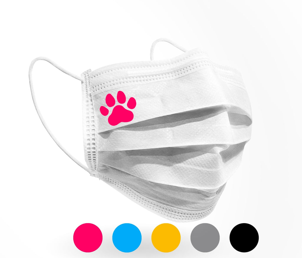 Paw Print Logo Mask 10 pack on White - Palm beach mask