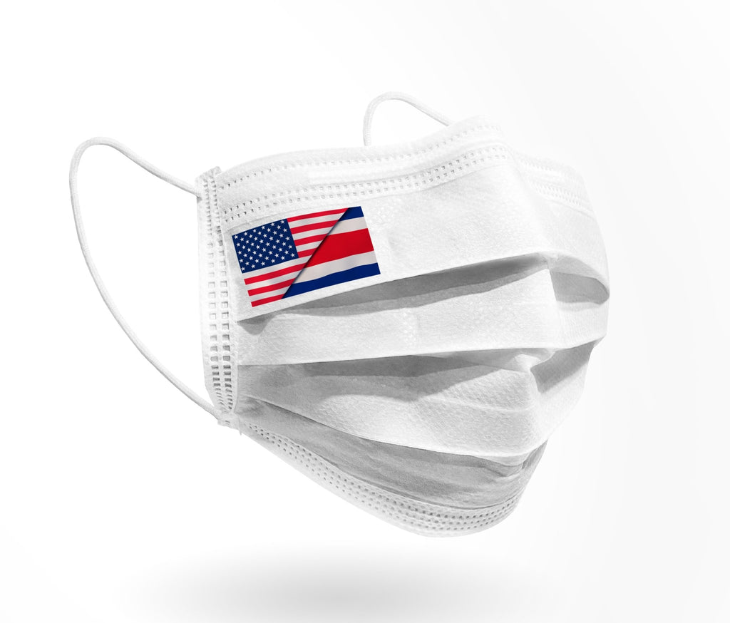 USA / Costa Rica Half Flag Logo - Mask print 10 pack on White - Palm beach mask