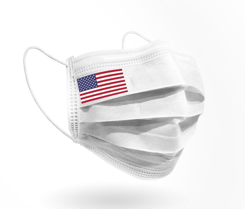 USA Flag Logo - Mask print 10 pack on White - Palm beach mask