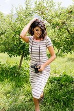 Load image into Gallery viewer, Striped Drawstring T-Shirt Dress