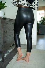 Load image into Gallery viewer, Faux Leather Capri Knit Leggings