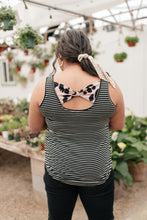 Load image into Gallery viewer, Back The Bow Up Striped Tank In Black