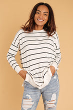 Load image into Gallery viewer, Brand New Attitude Striped Sweater Top in White