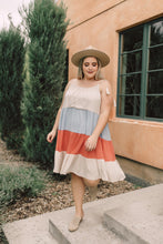 Load image into Gallery viewer, Color Block Ruffles Midi Dress In Coral