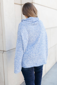 Cozy Cowl Neck in Heather Blue