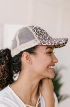 Load image into Gallery viewer, Criss Cross Ponytail Baseball Cap in Cheetah